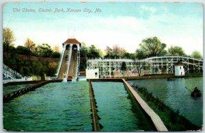 Kansas City MO Amusement Park Postcard The Chutes, ELECTRIC PARK 1910 Cancel