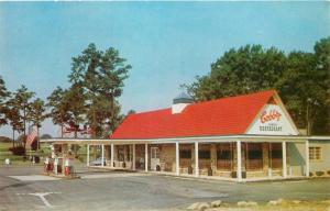 Rocky Mount North Carolina~Cobbs Motel~Restaurant~Gas Pumps~1960s Postcard