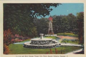 PARRY SOUND , Ontario , Canada , 1930s; Sundial & Birdhouse, Tower Hill