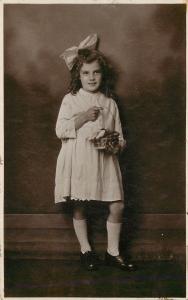 c1910 RPPC Postcard; Children Pretty Girl with Easter Basket, Liverpool UK