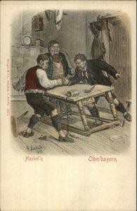 Unusual Sport Men Thumb Wrestling Hackel'n Oberbayern Arnoulo 1899 PC