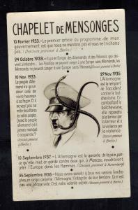 Mint WW2 France  Postcard Hitler Chapelet de Mensonges