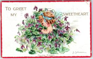 Vintage Valentine's Day Postcard TO GREET MY SWEETHEART Artist-Signed J. JOHNSON