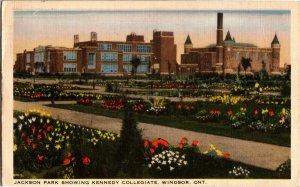 Jackson Park Showing Kennedy Collegiate Windsor Ontario Vintage Postcard B20