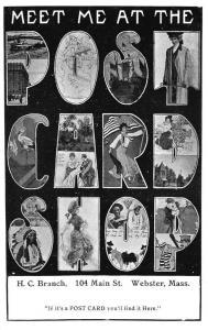 Webster MA H. C. Branch Post Card Shop 1906 Advertising Postcard