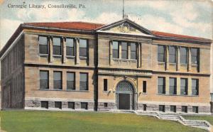 Connellsville Pennsylvania~Carnegie Public Library~Terraced Steps~1911 Postcard