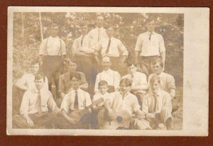 VINTAGE RPPC 1905-1908 ERA*SAILBOAT STAMP BOX*15 MEN BOYS*CAPE MAY NEW JERSEY NJ
