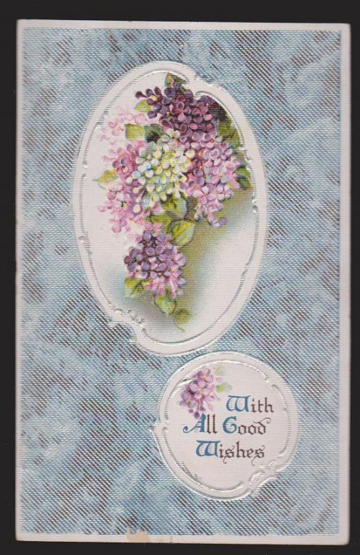 General Greetings - With Good Wishes Flowers - Used - Embossed