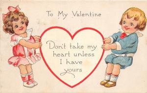 A3/ Valentine's Day Love Holiday Postcard 1910 Worcester Mass Kids Heart 20