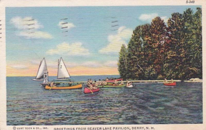 New Hampshire Greetings From Beaver Lake Pavilion Derry 1946 Curteich