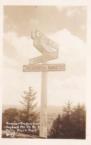 New Hampshire White Mountains Hogback Mountain Molly Stark Trail Sign Post Re...