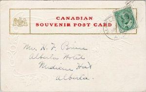 Macleod AB Alberta The Old Man River Embossed Patriotic Postcard F72