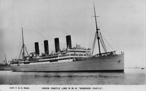 Union Castle Line royal mail steamer Windsor Castle ship Postcard