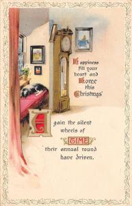 Christmas~Dog Sleeps on Window Bench~Grandfather Clock~Wheels of Time~PS Dresden