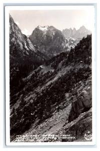 Postcard Mt Whitney from Portal Highway, Lone Pine, CA 1930-1950 RPPC I19
