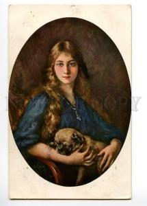 120656 Lady w/ ENGLISH BULLDOG by LEVY Vintage SALON PC