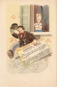 Wife ejecting husband from home Humorous vintage Italian postcard