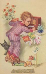 Boy In Striped Pyjamas + Antique Gramophone Radio Christmas Message Postcard