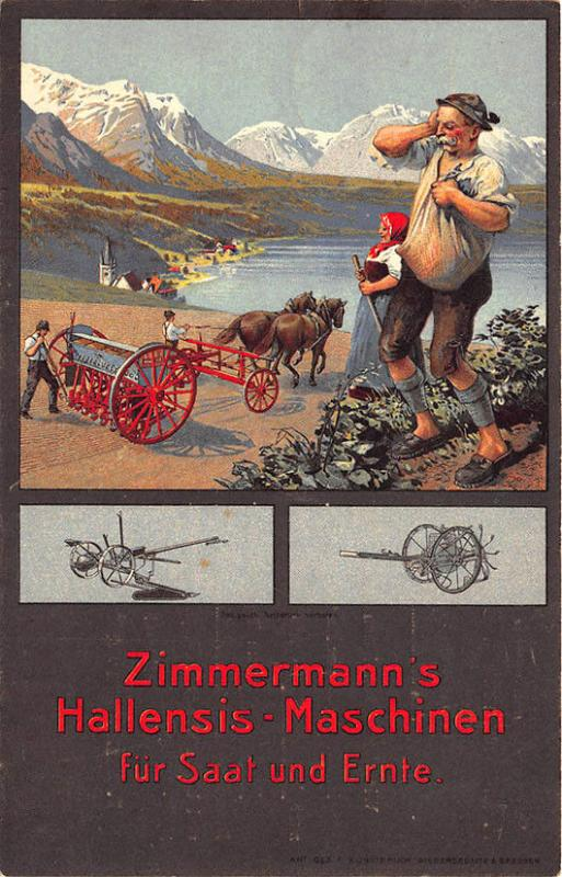 Germany Zimmermann's Hallensis Machines For Sowing and Reaping Horse Postcard