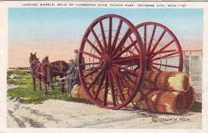 P1278 1946 postcard used logging wheels lumbering days traverse city michigan