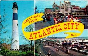 Postcard NJ New Jersey Atlantic City Greetings 3 Scene Banner Lighthouse Posted