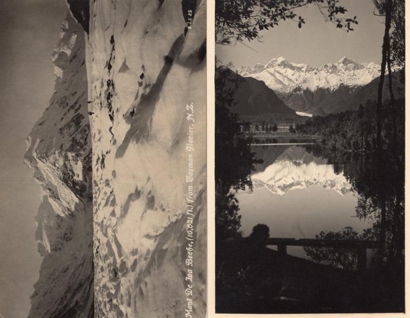Mont De La Beche & Tasman Glacier New Zealand 2x Old Photo Postcard s