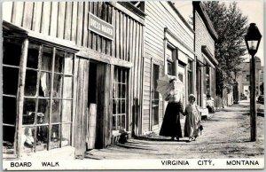 VIRGINIA CITY, Montana RPPC Real Photo Postcard Board Walk Street View c1950s