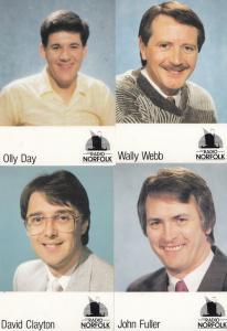 Olly Day David Clayton Wally Webb John Fuller 4x Radio Norfolk Postcard s