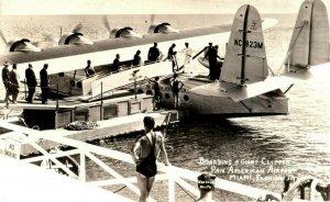 c1940's Boarding Airplane Pan American Airport Miami Florida RPPC Photo Postcard