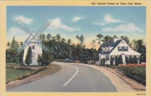 Massachusetts Cape Cod Quaint Street Scene With Windmill Curteich
