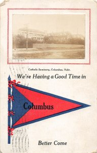 F97/ Columbus Nebraska RPPC Postcard c1910 Catholic Seminary 10