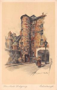 EDINBURGH SCOTLAND UK~SMOLLETT'S LODGING~MARJORIE BATES-ARTIST SIGNED POSTCARD
