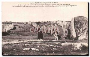 Old Postcard Dolmen Menhir Carnac alignments Menec Women Folklore
