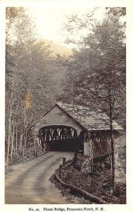 Franconia Notch NH Flume Covered Bridge RPPC Postcard