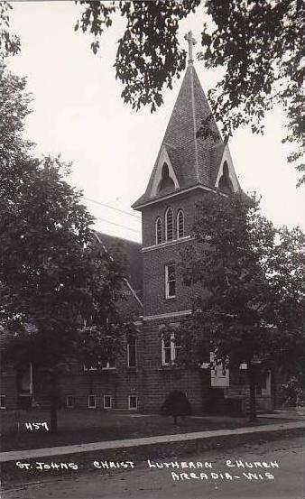 Wisconsin Arcadia St Johns Christ Lutheran Church Real Photo RPPC