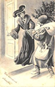 Christmas Gray Suited Santa Claus Belgium Chocolate AD Postcard