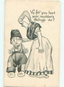 Pre-Linen Comic MOM PULLING BOY BY THE EAR AB9700