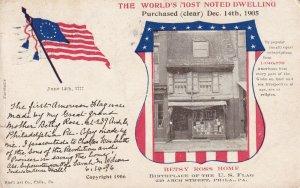 PHILADELPHIA, Pennsylvania, PU-1908; Betsy Ross Home, Flag