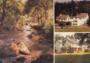 River By The Mill End Hotel Chagford Devon 1980s Postcard