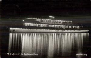 Ship Lit Up at Night MS Bayern - Festbeleuchtung Germany Real Photo Postcard