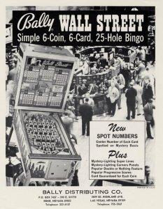 Bally Wall Street Pinball FLYER Original Vintage 1974 Bingo Game Promo Artwork