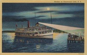 Steamer on CHAUATUGUA LAKE, New York at night, PU-1946