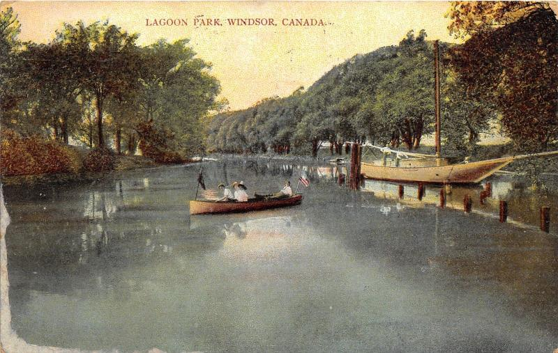 Windsor Ontario~Lagoon Park~People in Pleasure Boat & Large Sailboat~1909 Pc