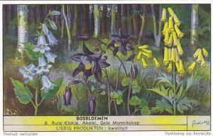 Liebig Trade Card S1568 Forest Flowers No 6 Ruig Klokje Akelei & Gele Monnikskap