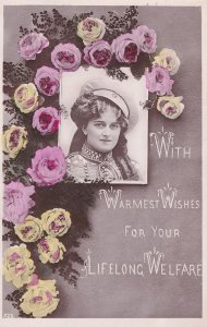 Lifelong Welfare Anti Poverty 1909 Military Hat RPC Postcard