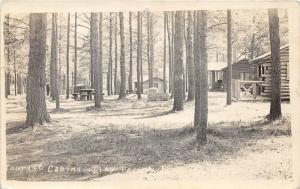 Tourist Cabins & City Park View~Stone Fireplace~RPPC pm 1935 @ Iron Mountain MI