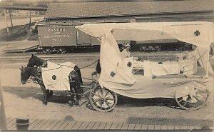 Greenville ME Parade Horse & Wagon Nurses Float Railroad Cars & Station? RPPC
