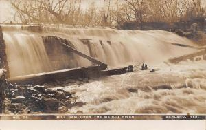 Ashland NE Water Pours Over Mill Dam on the Wahoo River~RPPC c1910