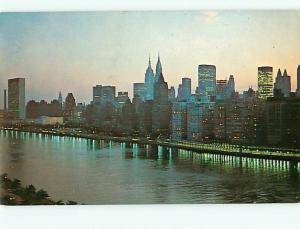 Aerial View Queensboro Bridge Night Scene New York City NY Postcard  # 8806