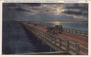 Florida Saint Petersburg Gandy Bridge Across Tampa Bay By Moonlight The Sunsh...